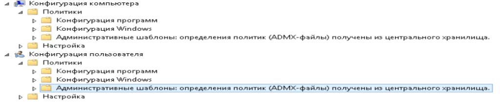 Централизованное хранилище административных шаблонов